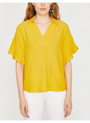 Koton V Yaka Kolları Volanlı Bluz Sarı